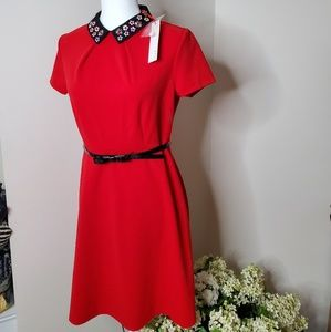 Elle red collared dress with adjustable belt 6